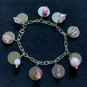 Electic Bracelet with Brass Disk and Pink Beads